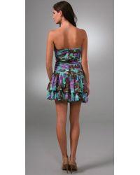 Catherine Malandrino - Multicolor Strapless Pleated Ruffle Dress - Lyst