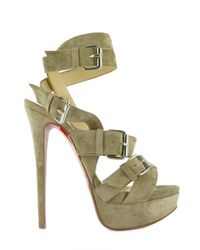 Christian Louboutin | Green 150 Toutenkaboucle Suede Sandals | Lyst