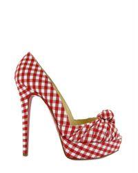 Christian Louboutin Red 140 Canvas Greissimo Peep Vichy Pumps