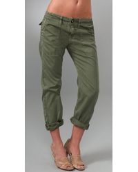 Current/Elliott | Green The Army Cotton Pants | Lyst