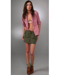DSquared² Green Cotton Canvas Mini Military Skirt