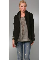 Elizabeth and James | Black Draped Hooded Suede Jacket | Lyst