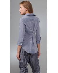 Elizabeth and James - Blue Pleated Pocket Chambray Cohen Shirt - Lyst