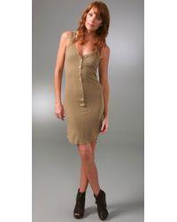 Enza Costa Green Ribbed Henley Tank Dress
