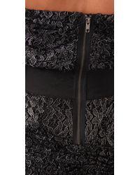 Foley + Corinna | Black Metallic Lace Strapless Dress | Lyst