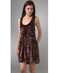 Free People - Black Crushed Floral Dress - Lyst