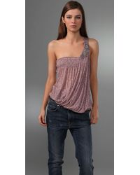 Free People | Pink Sea Breeze One Shoulder Top | Lyst