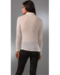 Graham & Spencer - Natural Long Sleeve Cowl Neck Top - Lyst