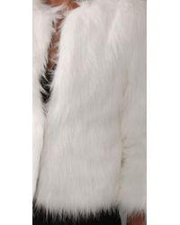 Halston - White Faux Goat Short Fur Coat In Bianca - Lyst
