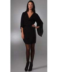 Halston | Black Silk Chiffon Cowl Neck Twist Dress | Lyst