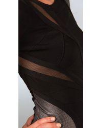 Hervé Léger - Black Gunmetal Accents Dress - Lyst