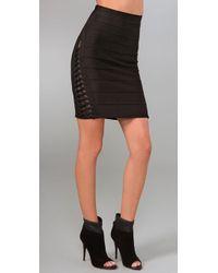 Hervé Léger | Black Lace-detailed Bandage Skirt | Lyst