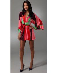 Issa | Red Short Kimono Dress | Lyst