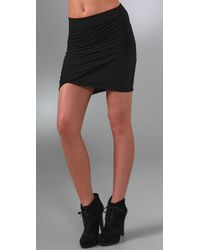 James Perse | Black Twisted Wrap Miniskirt | Lyst