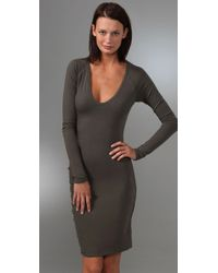 James Perse - Gray Long Sleeve Fitted Dress - Lyst