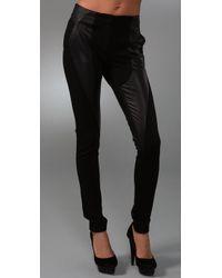 L.A.M.B. | Black Leather & Ponte Legging Pants | Lyst
