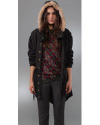 Marc By Marc Jacobs Black Vintage Fleece Parka Jacket