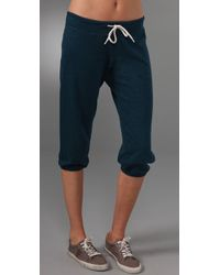 Monrow | Blue Vintage Cropped Sweatpants | Lyst