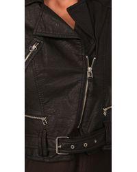 Plastic Island Black Cropped Faux Leather Moto Jacket