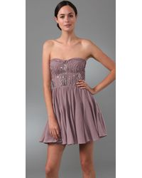 Rebecca Taylor | Pink Sparkle Strapless Dress | Lyst