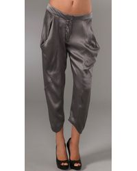 Rich & Skinny | Gray Silk Harem Trousers | Lyst