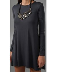 T-bags - Gray Long Sleeve Necklace Dress - Lyst