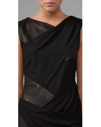 Thakoon Black Stretch-wool and Leather Bandage Dress