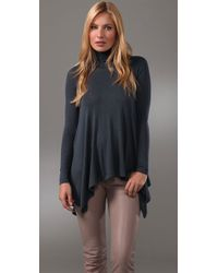 Three Dots | Gray Long Sleeve Turtleneck Top | Lyst
