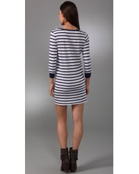 Velvet By Graham & Spencer | Blue Ivonne Maldives Stripe Long Sleeve Dress | Lyst