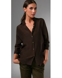 Vince - Brown 3/4 Sleeve Blouse - Lyst