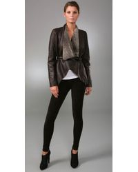 Vince | Brown Drape-front Shearling Jacket | Lyst