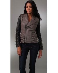 William Rast | Gray Ruffle Leather Jacket | Lyst
