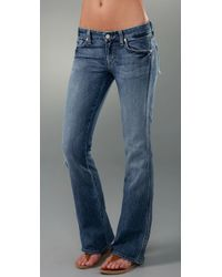 7 For All Mankind - Blue Peekaboo Crystal Pocket Jeans - Lyst