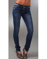 7 For All Mankind | Blue Roxanne Skinny Jeans | Lyst