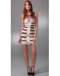 BCBGMAXAZRIA | Metallic Stretch Satin Dress with Tulle | Lyst