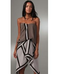 BCBGMAXAZRIA - Natural Geometric Colorblock Dress - Lyst
