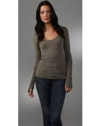 Enza Costa | Green Cotton Cashmere Sweater with Thumbholes | Lyst