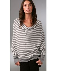Enza Costa | Gray Cotton Cashmere Reversible Cardigan | Lyst