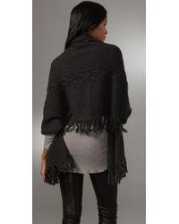 La Fee Verte | Gray Fringe Wrap Sweater | Lyst