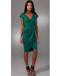 Lela Rose | Green V Neck Dress with Tulip Skirt | Lyst