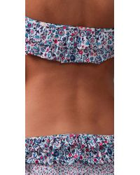 Marc By Marc Jacobs - Gray Folly Floral Ruffle Bandeau Bikini Top - Lyst