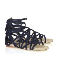 Miu Miu Blue Navy Strappy Suede Flat Sandals