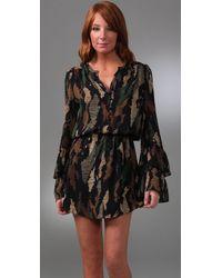Parker - Black Double Flared Sleeve Dress - Lyst