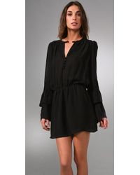 Parker - Black Double Flared Sleeve Dress - Lyst