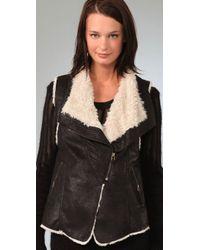 Plastic Island | Black Stoneage Faux Leather Zip Vest | Lyst