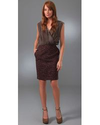 Rachel Roy | Purple Mix Media Soft V Dress | Lyst