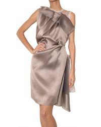 ROKSANDA - Brown Draped Silk Organza Dress - Lyst