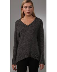 T By Alexander Wang - Gray V Neck Grandpa Sweater - Lyst