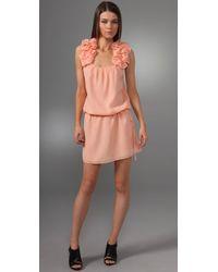 Thread Social | Pink Ruffled Shoulder Dress | Lyst