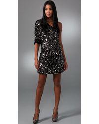 Tibi Black One-shoulder Sequined Silk Dress